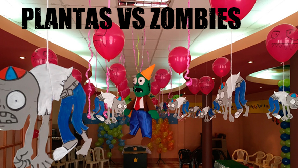 Decoracion de jardines para fiesta de plants vs zombies for Decoracion con globos plantas contra zombies